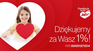 Dziewczynka z sercem, napis: Dziękujemy za Wasz 1 procent