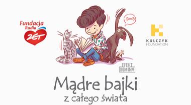 Rysunek chłopca czytającego książkę, logotypy Fundacji Radia ZET i Kulczyk Foundation