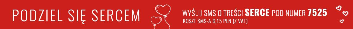 Podziel się sercem, Wyślij SMS o treści serce pod nr 7525. koszt SMS-a 6,15 z VAT-em